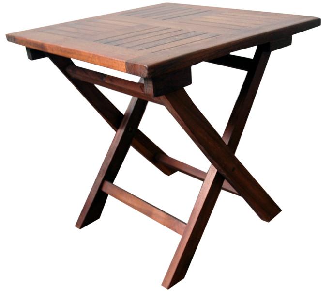 Mesa exterior madera teka oscura 45x45x45cm - Mesa madera exterior ...